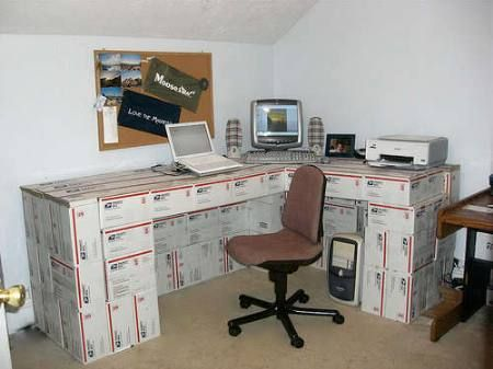 cardboard-box-desk  have boxes and duct tape?  well then you've got a desk  #desk #repurpose