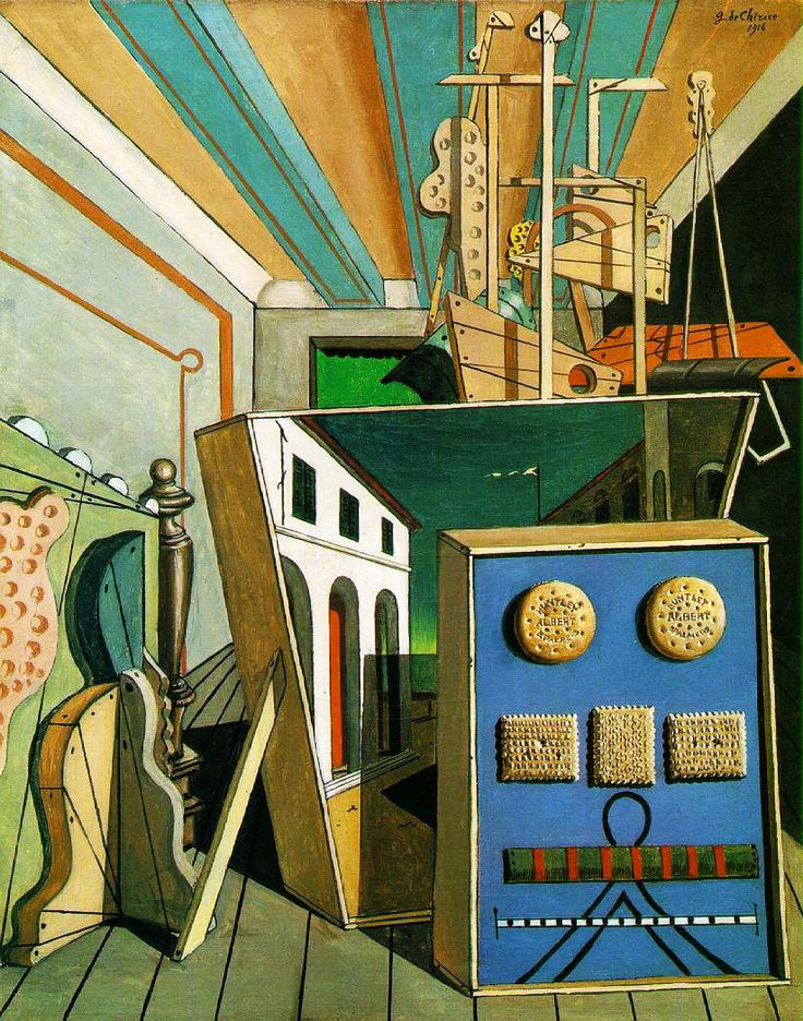 GIORGIO DE CHIRICO. Metaphysical Interior with Biscuits. 1916.