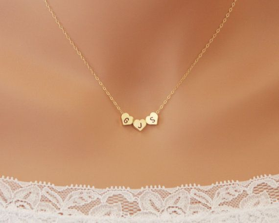 THREE Hearts Initial Necklace reversible engraved