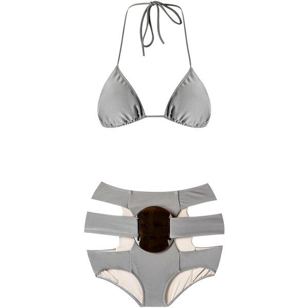 Adriana Degreas triangle bikini set ($447) ❤ liked on Polyvore featuring swimwear, bikinis, grey, bikini swimwear, high rise bikini, high-waisted swimwear, high waisted swim wear and cut-out bikinis