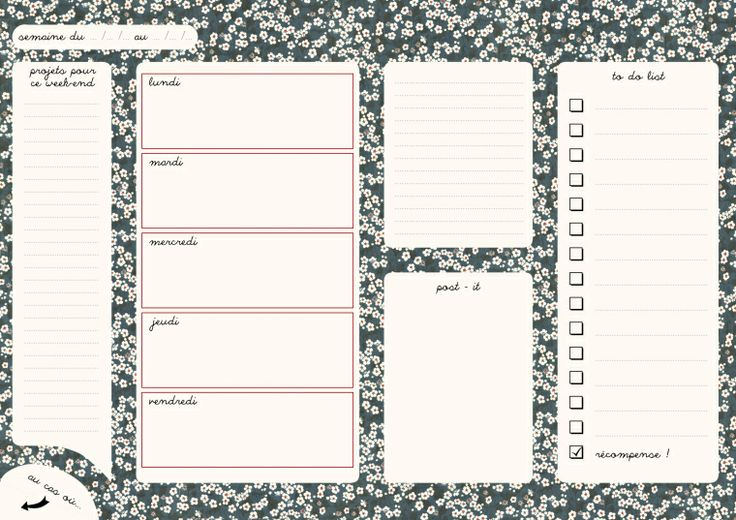 FREE printable weekly planner with tiny flowers in french: fleurs japonaises