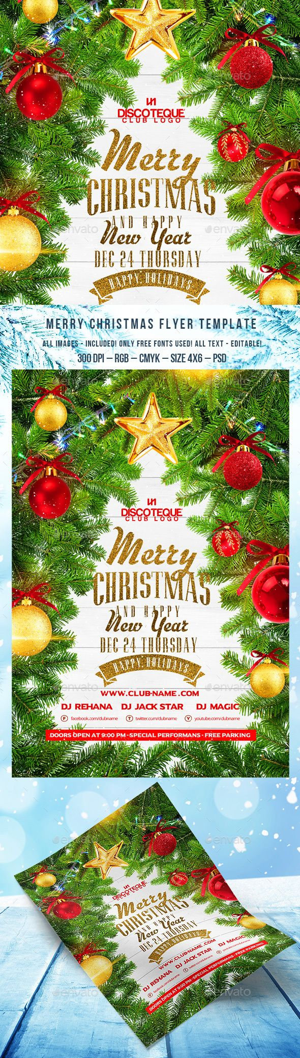 File infoChristmas Party Flyer Size 4x6 with