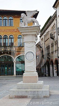 Liberty Square and lion statue in the old town of Bassano del Grappa, in Veneto, Italy.
