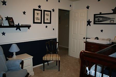We set up the baby room in a Dallas Cowboys theme.  I didn't really feel comfortable with this but it seemed to make Holly happy!
