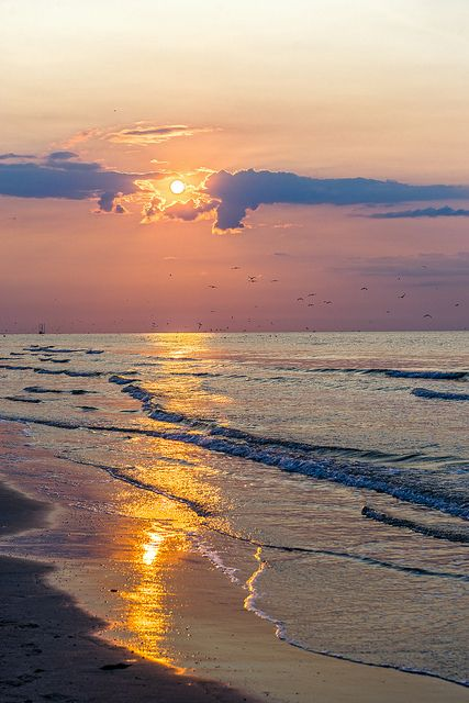 Galveston, Texas beautiful beach and water at sunset