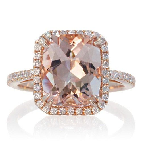 Halo Ring Rose Gold Morganite Cushion Halo Ring