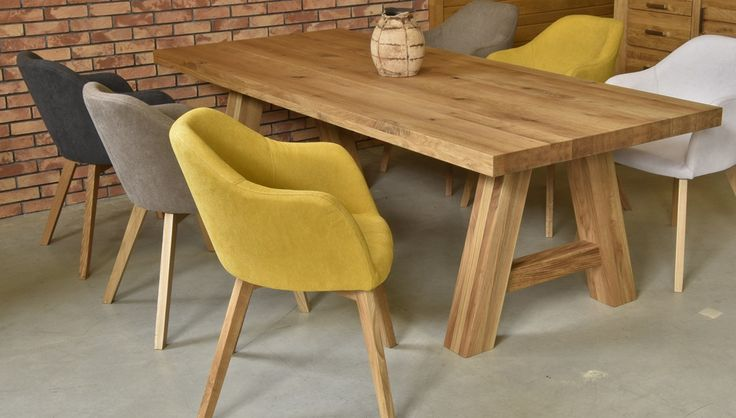 Design oak table with comfortable design chair