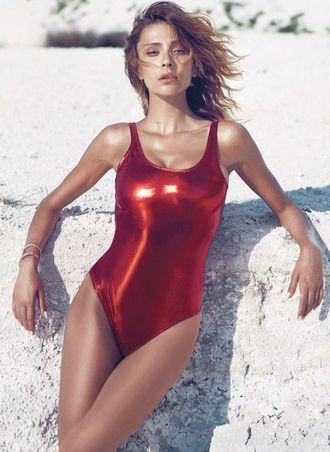 Alternative Beach Wear Swimwear Red Metallic One Piece Swimsuit
