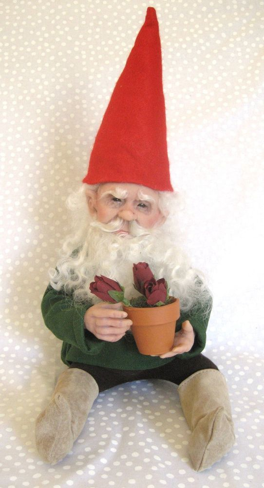 SPRING GNOME  ~   One-of-a-Lind Art Doll   ~  Terry Richards ***   wonderful gnome! Louise Glass