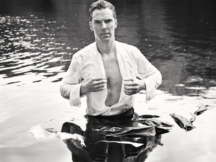 """""""Sherlock"""" star Benedict Cumberbatch pulls a Mr. Darcy for cancer research."""