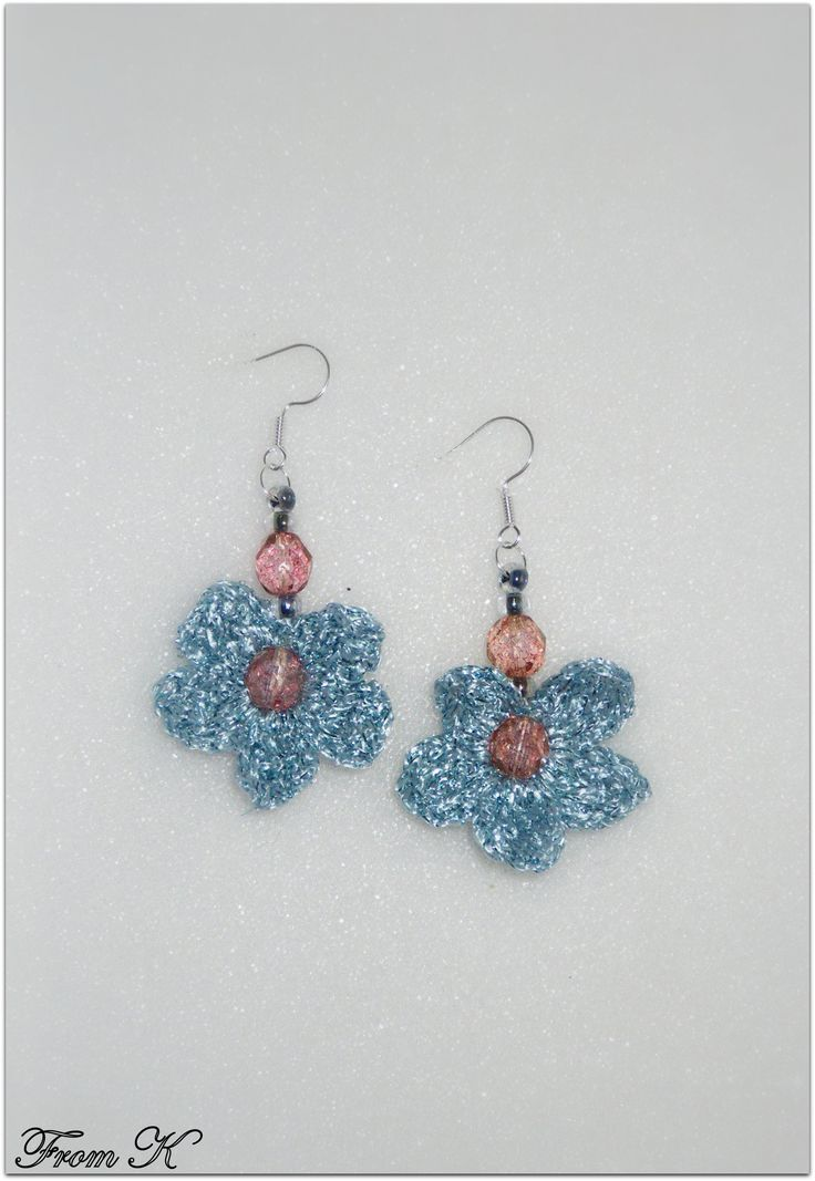 #Crochet #Flower #Dangle #Earrings. Hand crochet with a fine 100% polyester thread, decorated with Czech glass bead crystals. They create a super cute accessory to add to any outfit! Very light weight. 3cm long. ECO97 15.00 RON  For more photos, prices and other info, please visit my facebook page https://www.facebook.com/BeadsFromK/photos/