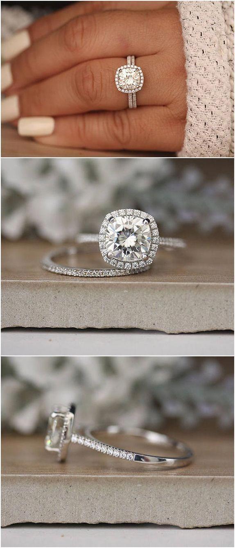 8mm Cushion Moissanite Wedding Ring Set, White Gold Ring, Half Eternity Diamond …