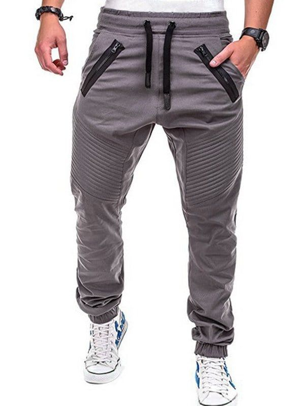 44a9c1a03fee5 Stitch Zipper Embellished Casual Jogger Pants - GRAY DOLPHIN M ...