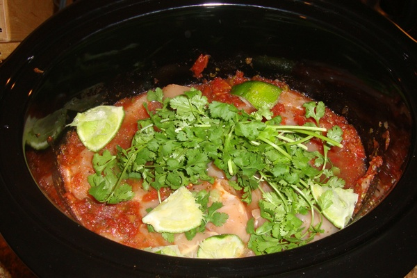 Crockpot Cilantro Lime Chicken...  Cooking right now!