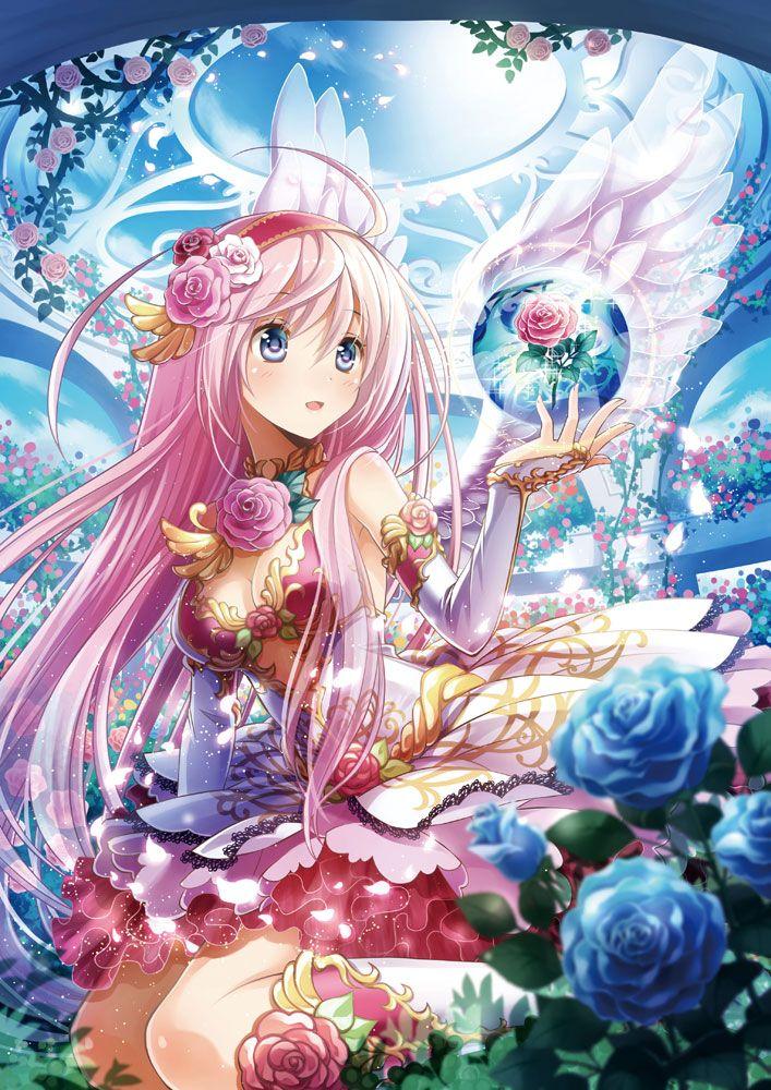 ✮ ANIME ART ✮ fairy. . .fae. . .angel. . .angel wings. . .magical. . .floating orb. . .dress. . .armor. . .gloves. . .petticoat. . .roses. . .garden. . .pink hair. . .fantasy. . .kawaii