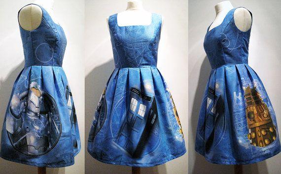 Doctor Who Dress Whovian Tardis Dalek Cybermen Gallifreyan Handmade To Order - Upcycled Fabric