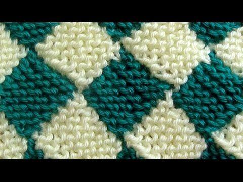 Como Tejer ENTRELAC Diamantes-How to Knit Entrelac-2 agujas(248)