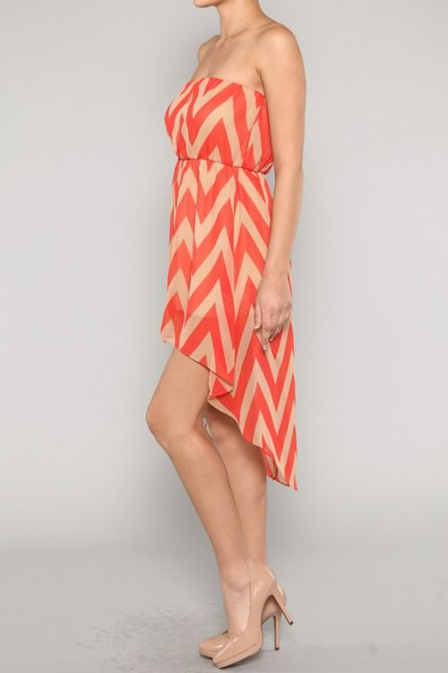 #ad Great Summer chevron high Low dress! I think this would work as a tunic for us #tallgirls.