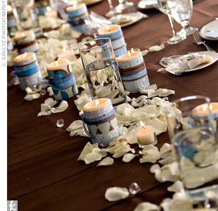 table centerpiece ideas, petals & candles instead of flowers