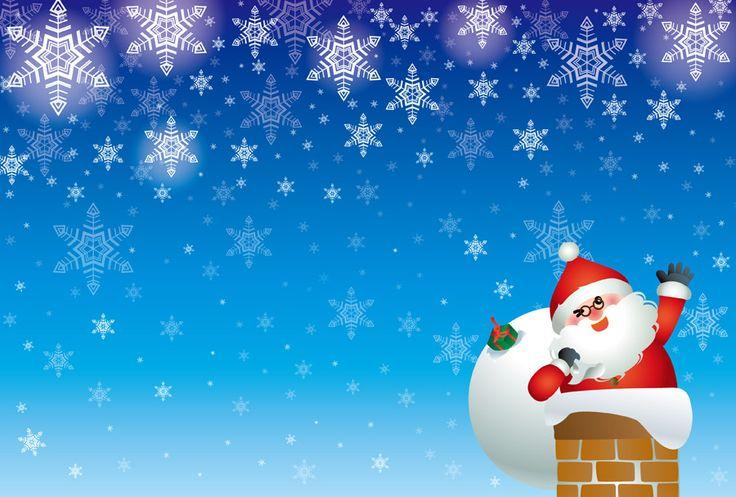 [無料イラスト] 雪と煙突に入るサンタのクリスマス背景 #クリスマス #Christmas