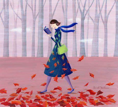 https://www.facebook.com/photo.php?fbid=442488865790032=a.347276608644592.75925.246185375420383=1Wall Art, Book Art, Fall Leaves, Walks, Sarah Wilkins, Totes Bags, Fall Autumn, Illustration Art, Reading Lists