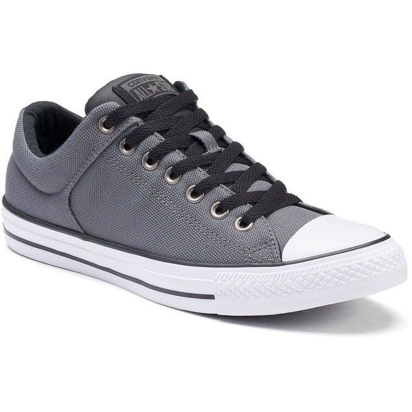 Mens Converse Chuck Taylor All-Star High Street Ox Low-Top Sneakers ($50) ❤ liked on Polyvore featuring mens fashion, mens shoes, mens sneakers, dark grey, mens lace up shoes, g star mens shoes, mens low tops, mens low top basketball shoes and converse mens shoes