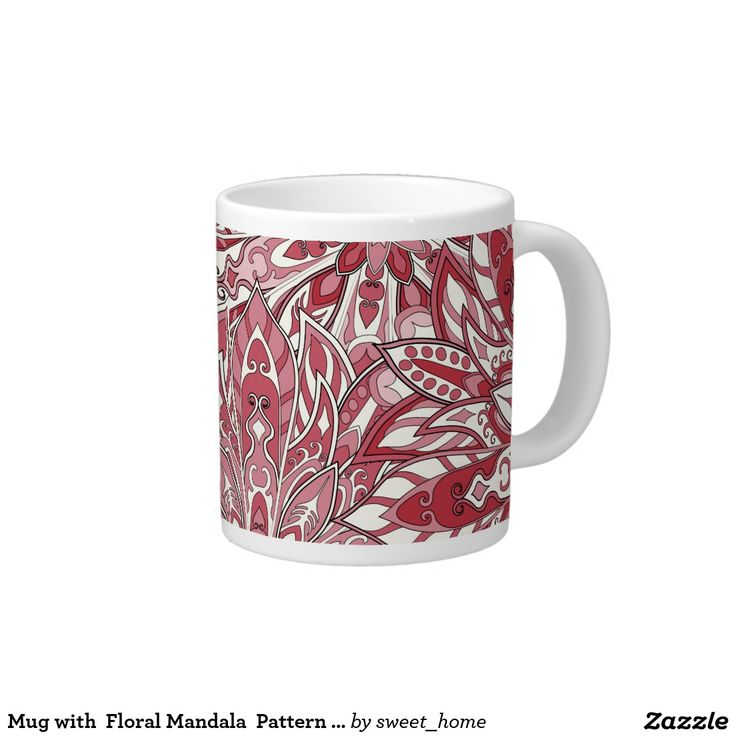 Mug with  Floral Mandala  Pattern Print #Homedecor #Room #accessories #Interior #decorating #Idea #Styles #Home