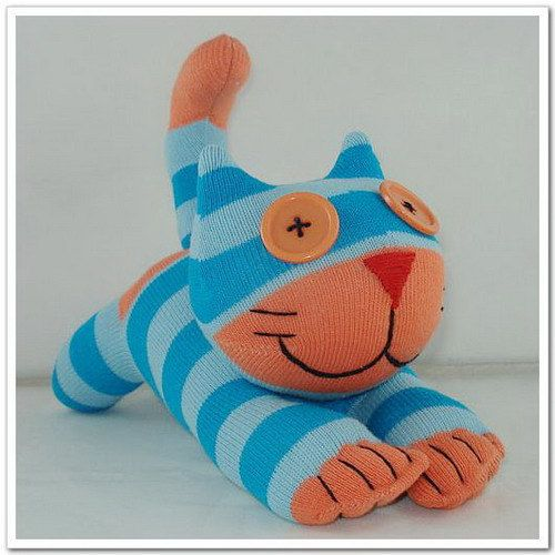 Handmade Sock Cheshire Cat Kitty Stuffed by supersockmonkeys, $10.99  Just way too cute!