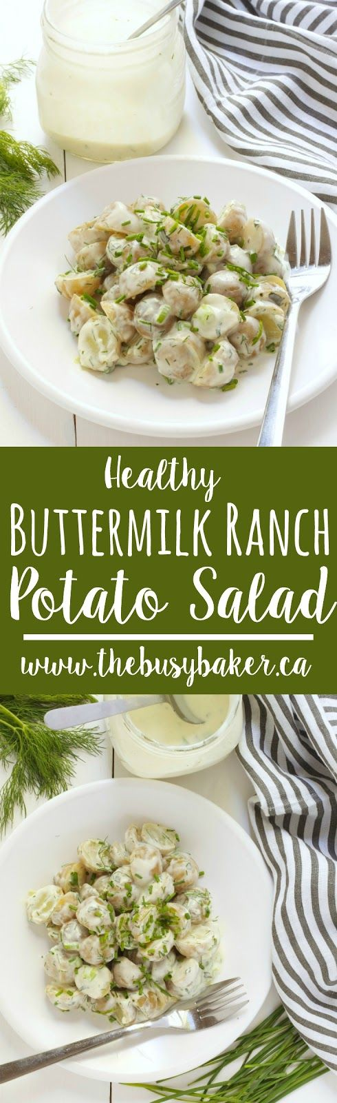This Healthy Buttermilk Ranch Potato Salad is great for all your summer barbecues! www.thebusybaker.ca