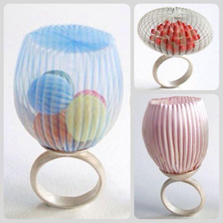 Mariko Kusumoto | polyester, silk, thread, silver rings, 2014
