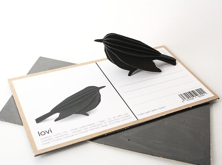 love the LOVI bird - flatpack postcard , and assemble this intriguing creature. Water-jet cut from Beech, in Finland.