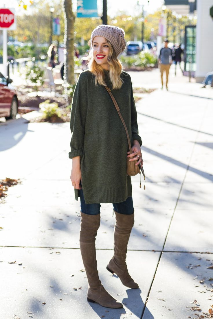 tunic sweater, jeans, OTK boots, beanie, wavy hair, red lips