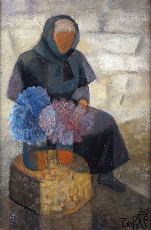 Lot : Louis TOFFOLI - 1907-1999 - LA FLEURISTE - Huile sur toile... | Dans la vente Tableaux du XIXe siècle, Modernes et Contemporains - Sculptures - Tapisseries à Eric Pillon Enchères