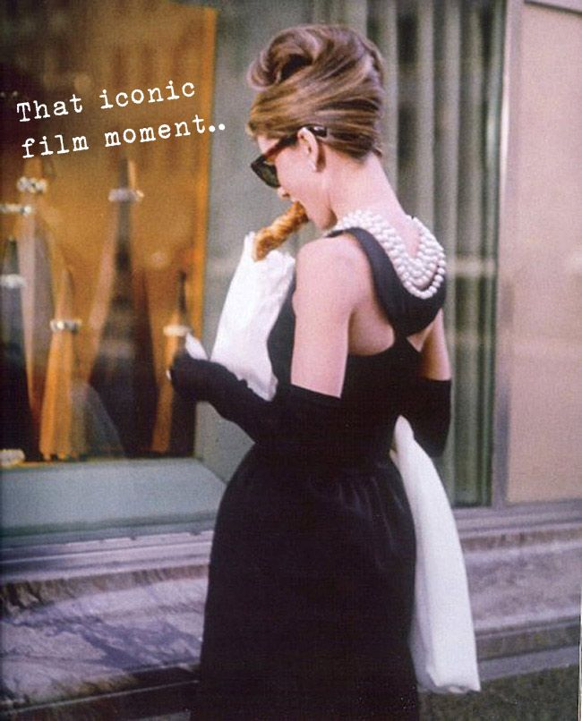 Audrey Hepburn in Breakfast at Tiffany's, Givenchy dress, pearls, Chanel sunglasses, vintage fashion inspiration
