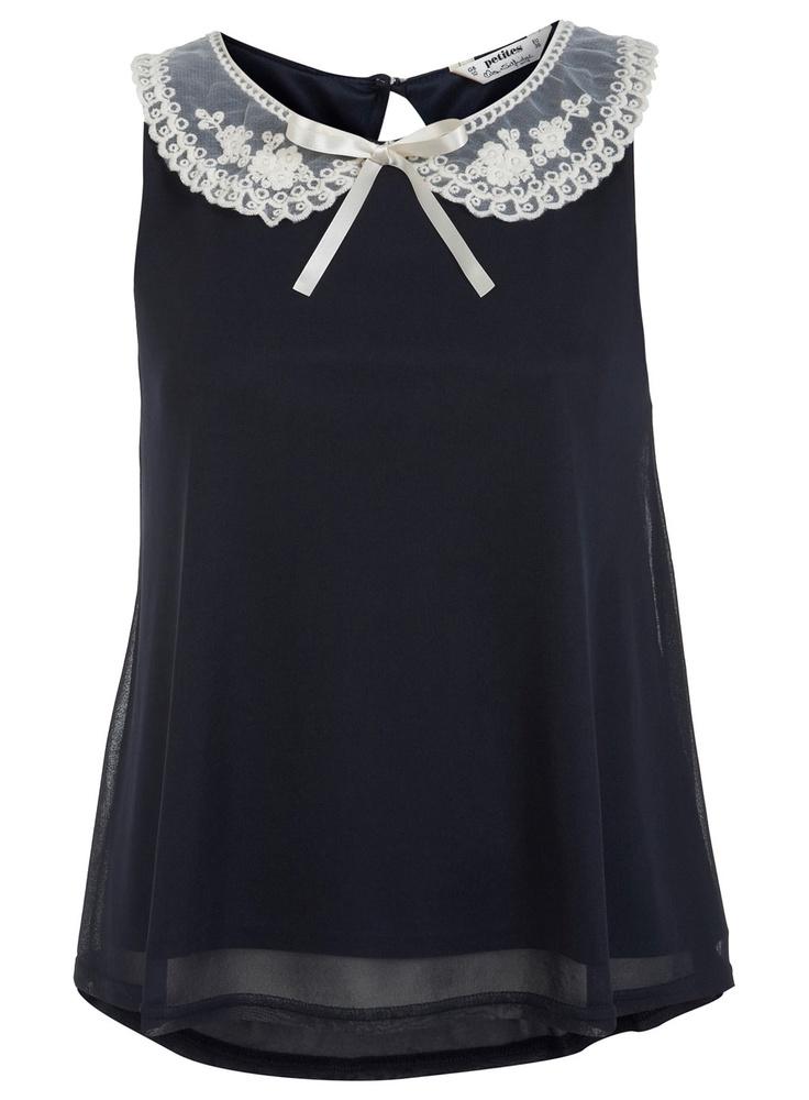 Miss Selfridge Petites Embroidered Collar Top, £29