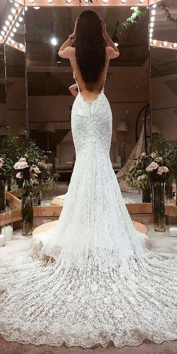 33 Chic Bridal Dresses: Styles & Silhouettes ❤ bridal dresses fit and flare lace sleeveless low back galia lahav ❤ See more: http://www.weddingforward.com/bridal-dresses/ #weddingforward #wedding #bride