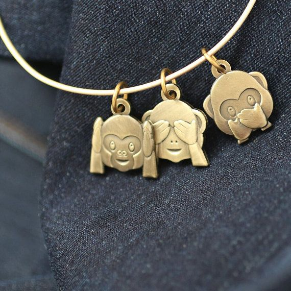 Three Wise Monkeys Emoji Charm Bracelet  Handmade adjustable bangle bracelet with three wise monkey emoji charms Antique brass or antique silver