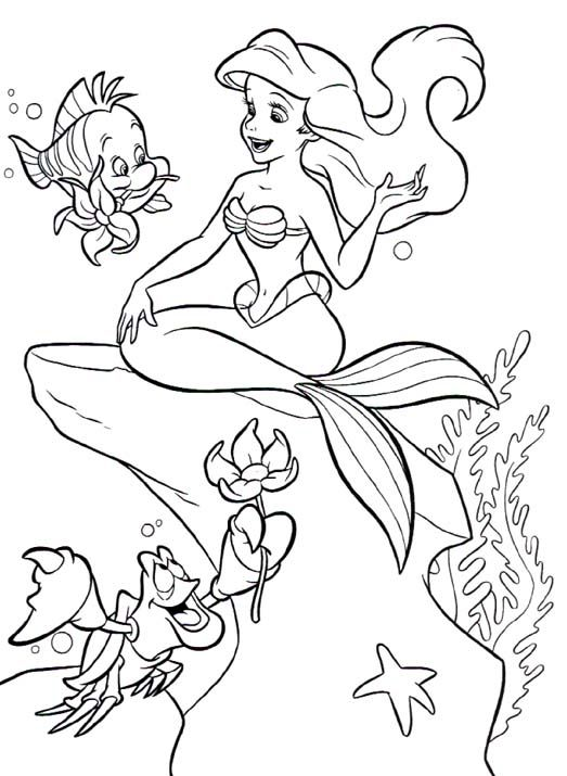little mermaid ariel with her friends flounder and sebastian coloring page