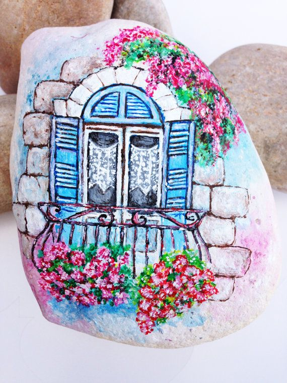 Hand Painted Stone maltese house of character!