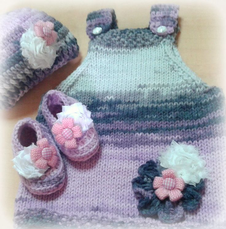 kand knitted set with a burkum batik by alize yarn and the booties and hat are crocheted. www.babybasket.etsy.com