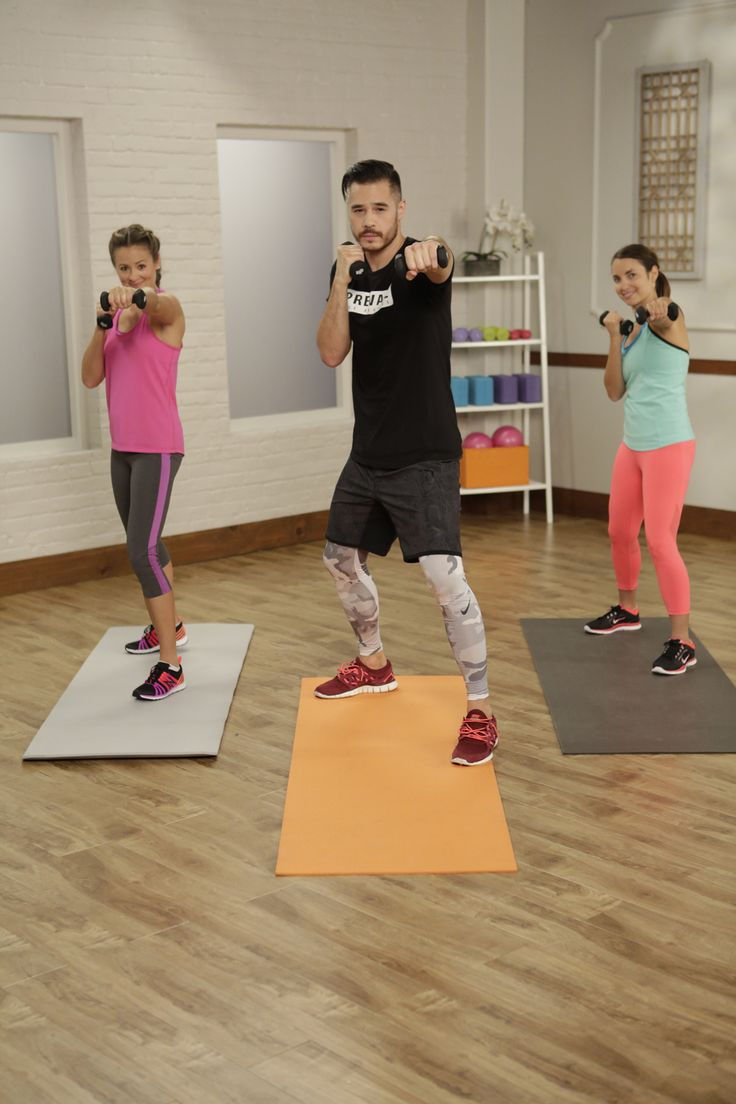 This video boxing workout is a knockout — no gloves needed! Just grab a set of lightweight dumbbells and get ready to punch it out.