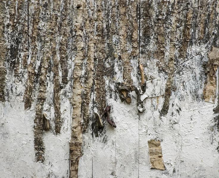 plaque 13  oil, acrylic emulsion, enamel, birch bark, glue, wood, shoes, osb  200 x 250 cm  by łubkowski
