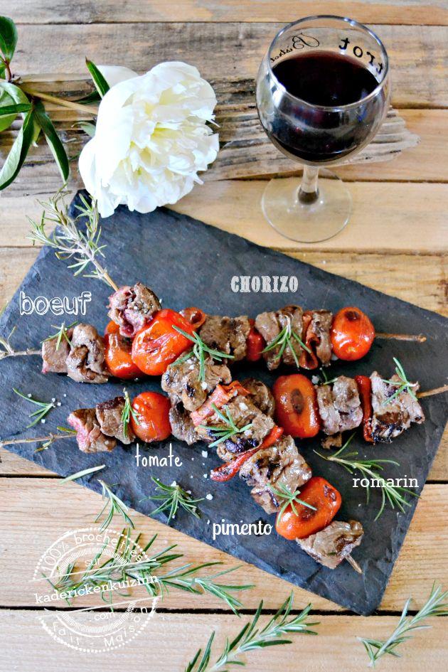 Plancha boeuf - Brochette de boeuf à la plancha chorizo pimento et romarin sur kaderickenkuizinn
