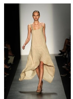 MAX AZRIA RUNWAY COLLECTION     SILK ASYMMETRICAL SPECIAL OCCASION BEADED DRESS L     Sleeveless with one thick beaded strap and one adjustable spaghetti strap  Asymmetric hemline is shorter in front and drapes in back  Draping open back  Fully silk lined  Retail Price: $1,450.00   Designer:  Max...