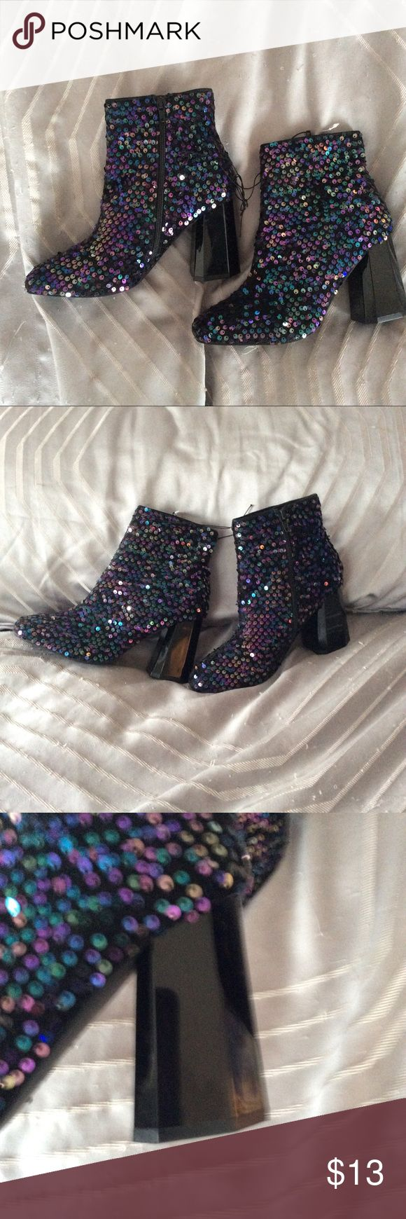 Nwt Sequin Iridescent Mermaid ankle boots booties NWT ANKLE BOITS BLACK WITH A MIX OF IRIDESCENT SEQUINS IN A MIX OF TEAL, PURPLE, AND BLACK.  3.5 Inch sculptural octagon shape herls.  Sizing is as follows: 39 fits an 8.5 to a 9 37 fits a 7 to 7.5 primark Shoes Ankle Boots & Booties