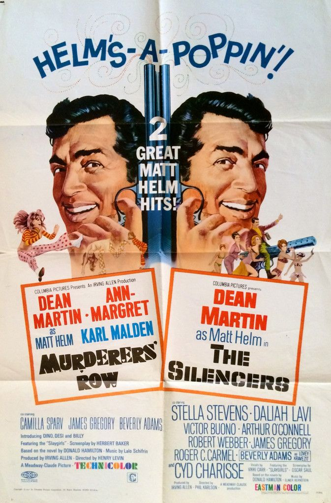 DEAN MARTIN MURDERERS ROW & THE SILENCERS COMBO ORIGINAL MOVIE POSTER