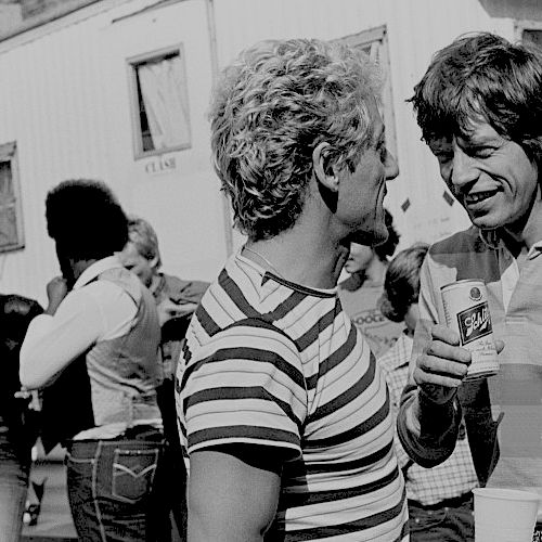 roger daltrey and mick jagger backstage at a the who /the clash show at JFK stadium in philadelphia, PA on september 25, 1982. © ebet roberts.
