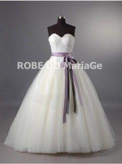 Robe de mariée princesse ceinture bustier en coeur  organza traîne balayée