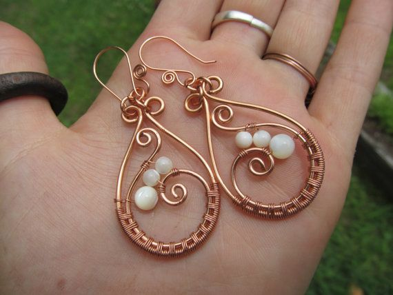 Mother of Pearl Copper Wire Hoop Earrings- White Beaded Wire Wrapped Healing Stones- Handmade Gemstone Goddess Wedding Jewelry