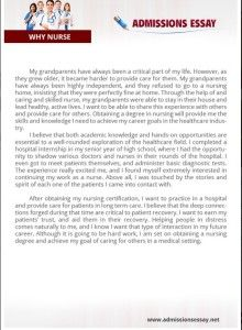 Nurse practitioner entrance essay